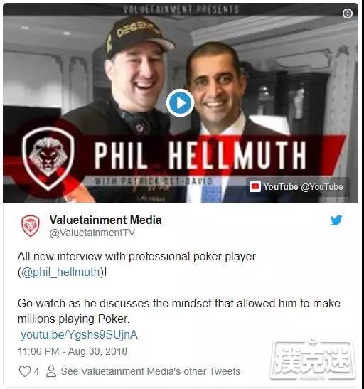 【蜗牛棋牌】Phil Hellmuth: 绝地控心术让我在牌桌上盈利百万