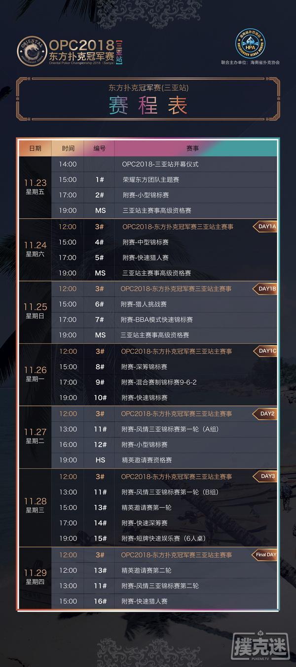 【蜗牛棋牌】OPC2018三亚站完整赛程火热出炉 16座冠军奖杯谁与争锋