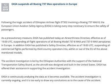 【蜗牛棋牌】欧盟航空安全局停飞波音737-8和波音737-9机型