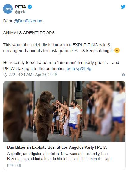 【蜗牛棋牌】Dan Bilzerian拿熊娱乐被PETA指责,霸气回怼让对方瞬间语塞