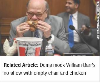 【蜗牛棋牌】美议员互传炸鸡还把玩具鸡放空位上 这是讽刺谁?
