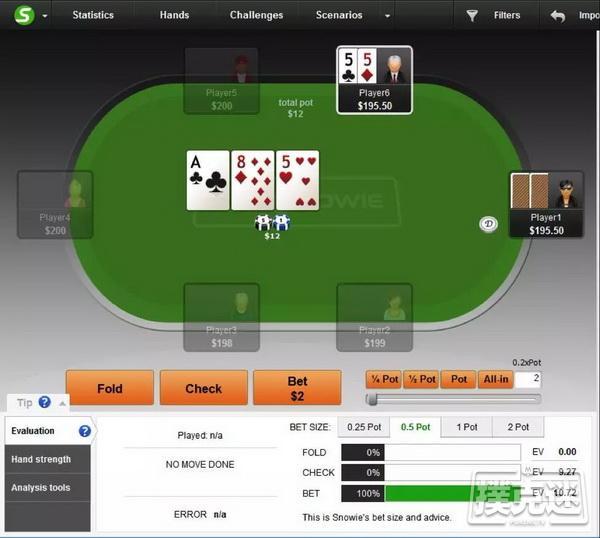 【蜗牛棋牌】PokerSnowie研究,你有阻断牌意识吗?