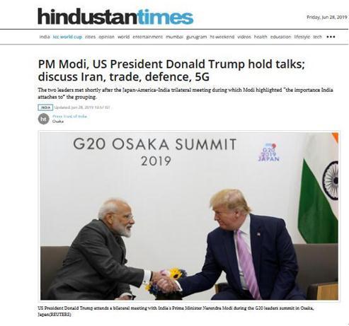 【蜗牛棋牌】特朗普G20峰会前夕会晤莫迪:我们已经成为好朋友