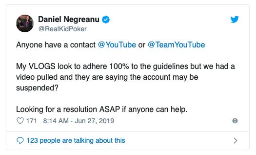 【蜗牛棋牌】被YouTube删除一支视频,丹牛担心自己账号被封