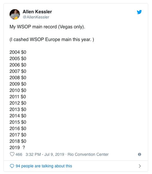 【蜗牛棋牌】Allen Kessler结束连续15年无缘WSOP主赛钱圈的厄运