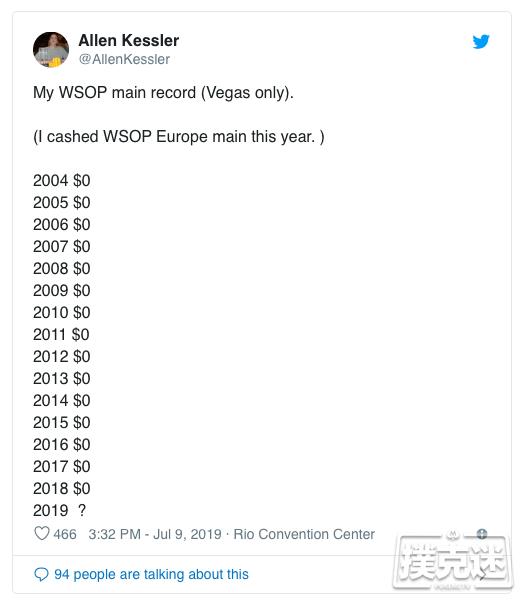 【蜗牛棋牌】Allen Kessler结束15年无缘WSOP主赛钱圈厄运