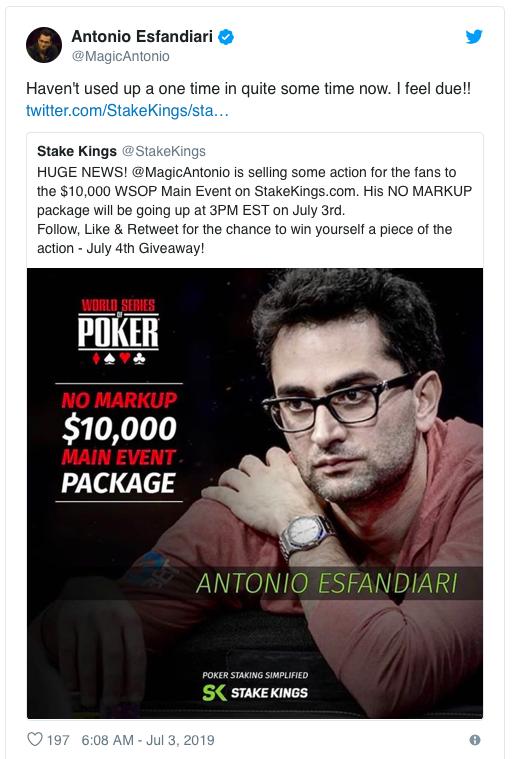 【蜗牛棋牌】Antonio Esfandiari获得WSOP主赛第82名,奖金,365!