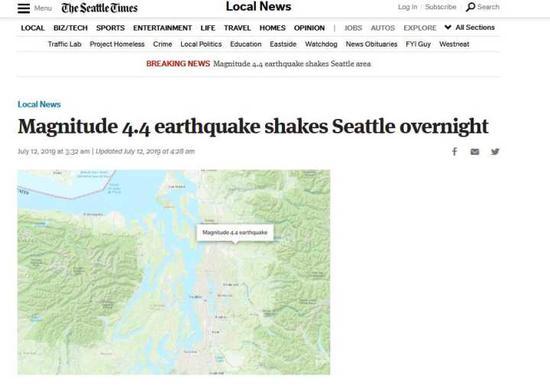 【蜗牛棋牌】美国西雅图地区发生4.4级地震 震源深度约9.7公里