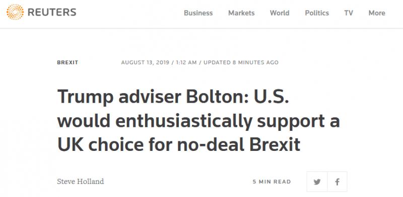【蜗牛棋牌】博尔顿:英国若选择无协议脱欧 美国将热情支持