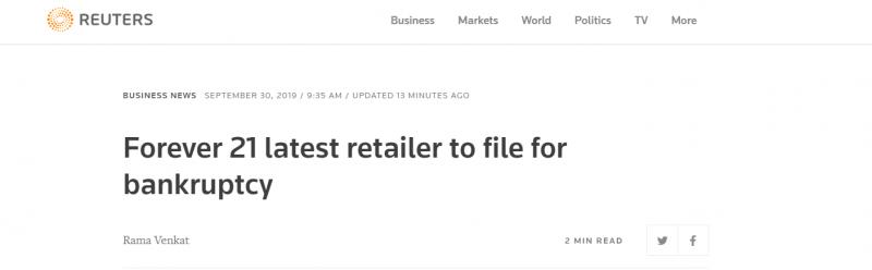 【蜗牛棋牌】时装零售商Forever 21申请破产保护 将在全球重组