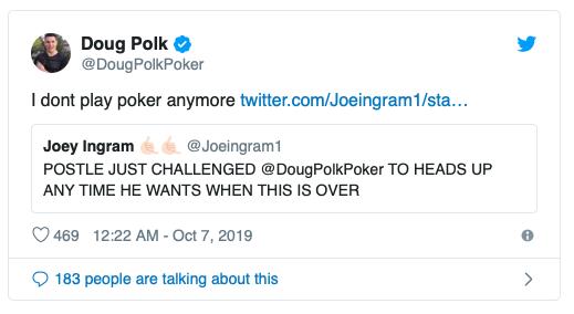 【蜗牛棋牌】Mike Postle发起单挑捍卫自己无辜,Doug Polk邀其上自己节目