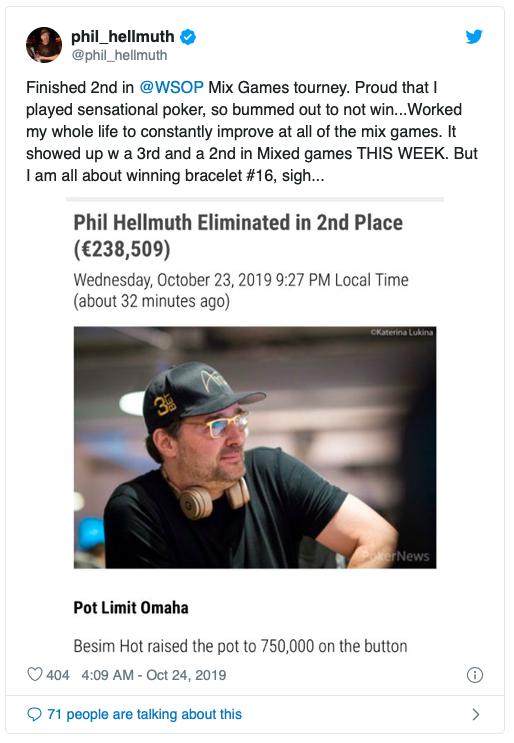 【蜗牛棋牌】Besim Hot斩获€25,500混合赛事冠军,Phil Hellmuth错失第16条金手链