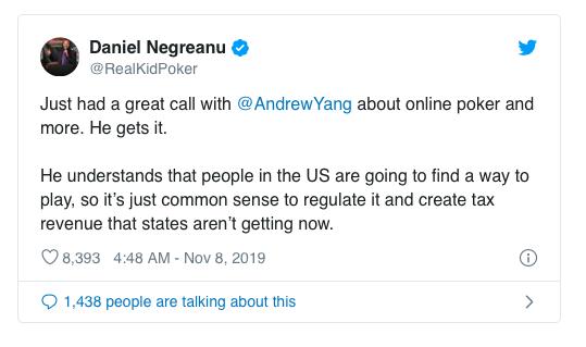 【蜗牛棋牌】丹牛看好支持线上扑克的总统候选人Andrew Yang