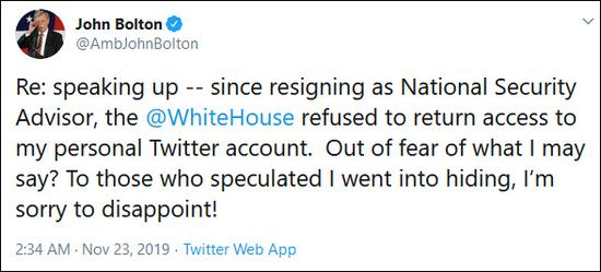 【蜗牛棋牌】博尔顿称遭白宫剥夺推特使用权:是怕我说点什么