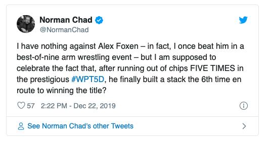 【蜗牛棋牌】Alex Foxen利用无限再买入赛制优势斩获WPT五钻扑克赛冠军!