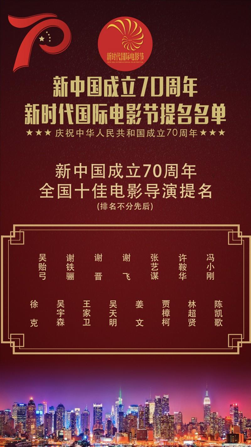 【蜗牛棋牌】新时代国际电影节十佳电影导演提名公布,谢晋张艺谋徐克等15人入围