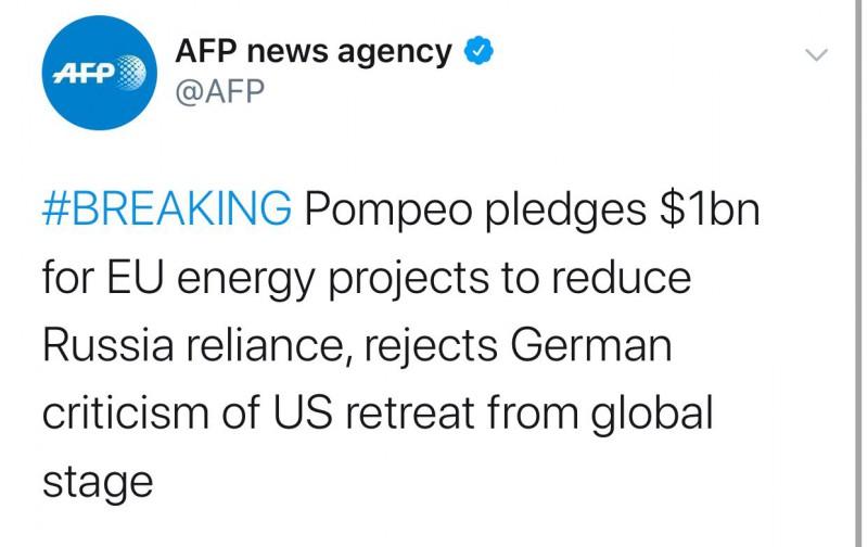 【蜗牛棋牌】蓬佩奥许诺欧盟10亿美元 以降低对俄能源依赖