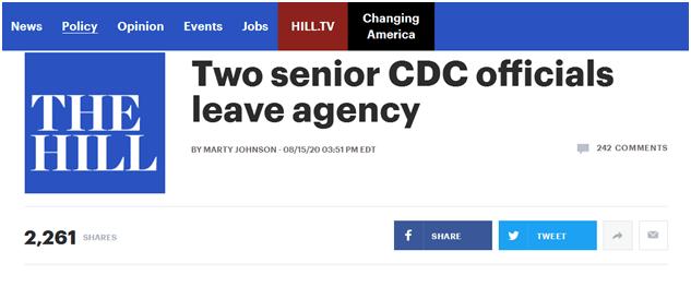 【蜗牛棋牌】与白宫裂痕加剧?两名特朗普任命美疾控中心高官辞职