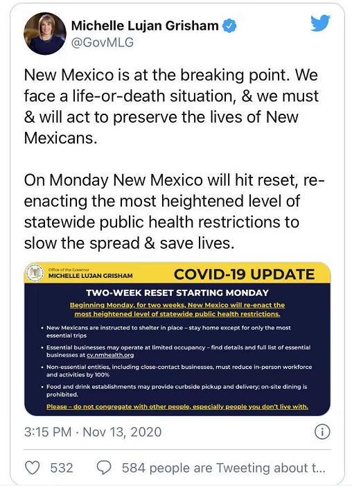 【蜗牛棋牌】美国新墨西哥州重新关停经济