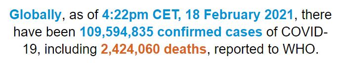 【蜗牛棋牌】世卫组织:全球新冠肺炎确诊病例超1亿959万例