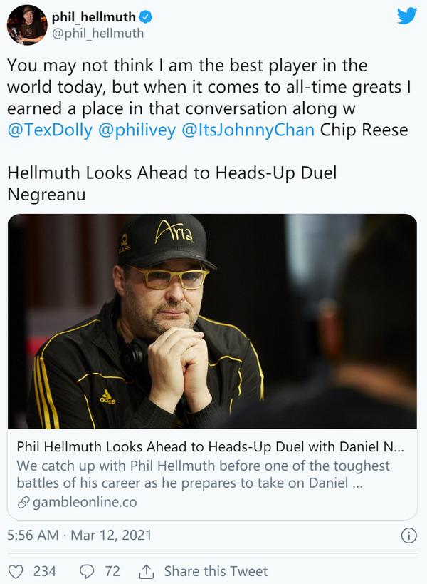 【蜗牛棋牌】Phil Hellmuth声称他在游戏中至少盈利1100万美元