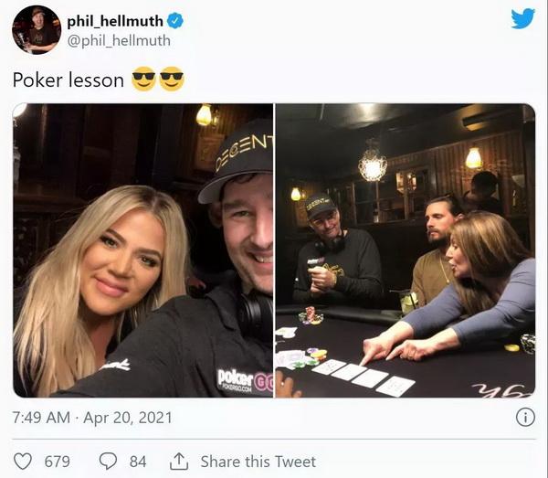【蜗牛棋牌】蹭热点?Hellmuth给卡戴珊上扑克课 Polk翻旧账暗讽土豪丹在2018年出售比特币行为