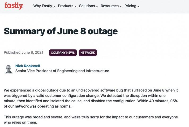 【蜗牛棋牌】美国网络服务商:8日发生的互联网故障为软件漏洞引发