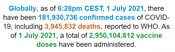 【蜗牛棋牌】世卫组织:全球新冠肺炎确诊病例超1.819亿例